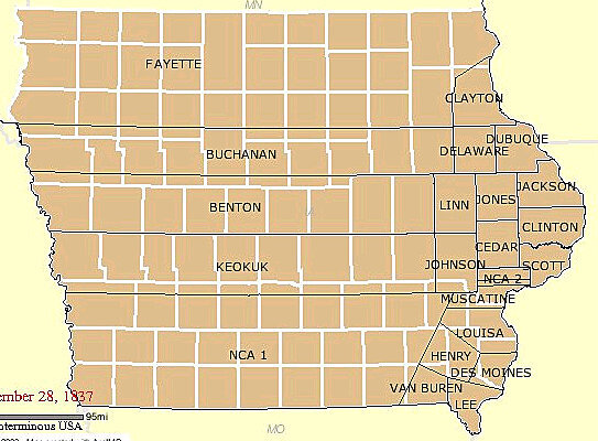 Iowa Territory with Counties