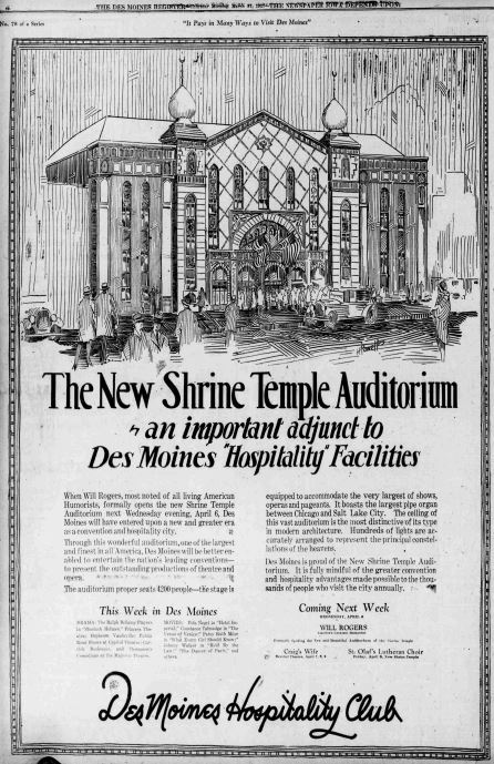 """The New Shrine Auditorium: an important adjunct to Des Moines """"Hospitality"""" Facilities"""