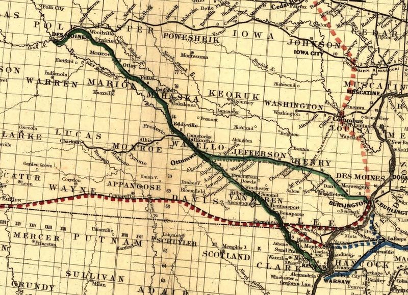 Map showing the Iowa & Missouri State Line Railroad and its connections.