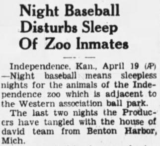 NIght Baseball Disturbs Sleep of Zoo Inmates