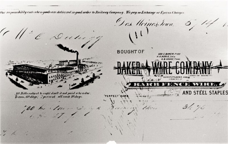 Baker Wire Company Bill of Sale