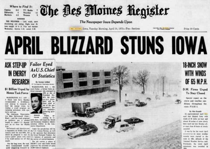 April Blizzard Stuns Iowa